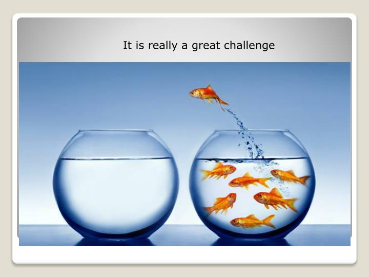 It is really a great challenge