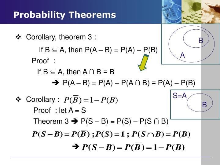 If B     A, then P(A – B) = P(A) – P(B)