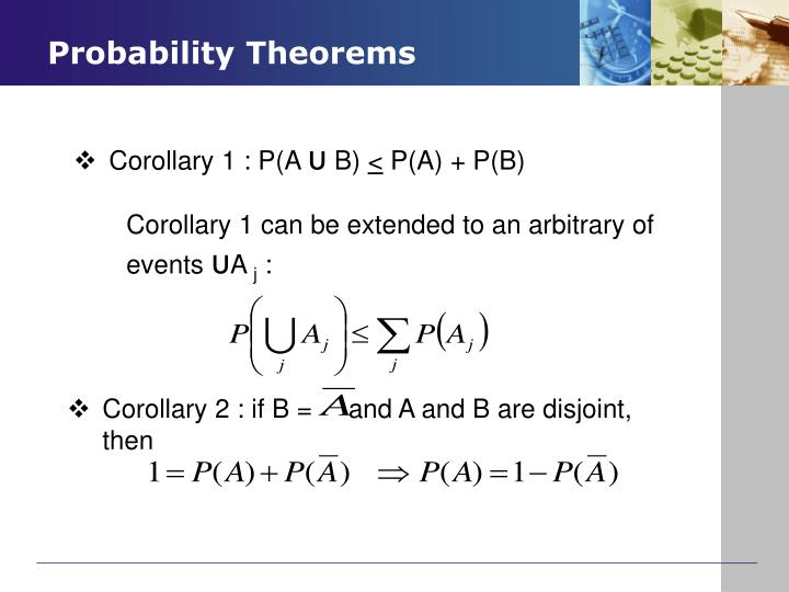 Corollary 2 : if B =     and A and B are disjoint, then