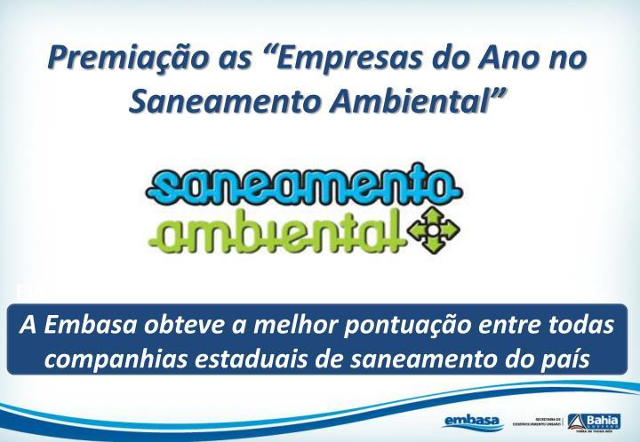 """Premiação as """"Empresas do Ano no Saneamento Ambiental"""""""