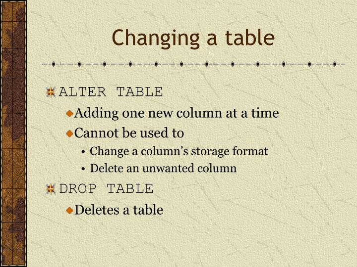 Changing a table