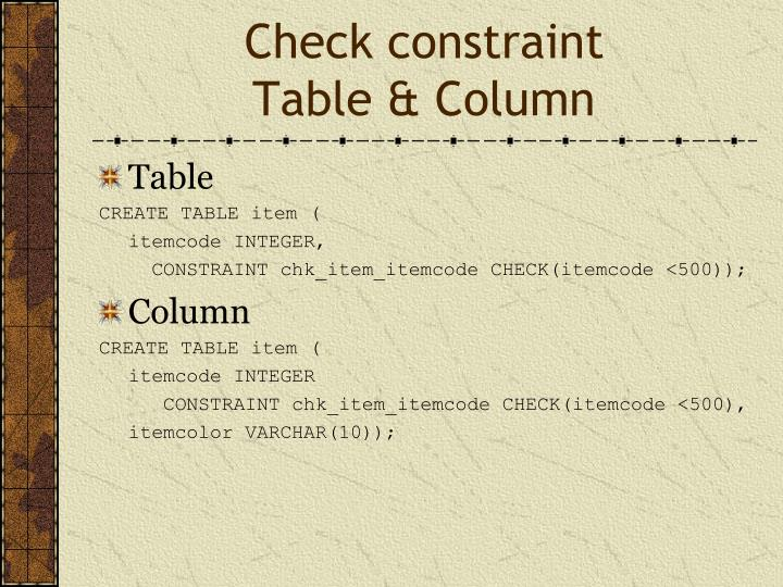Check constraint
