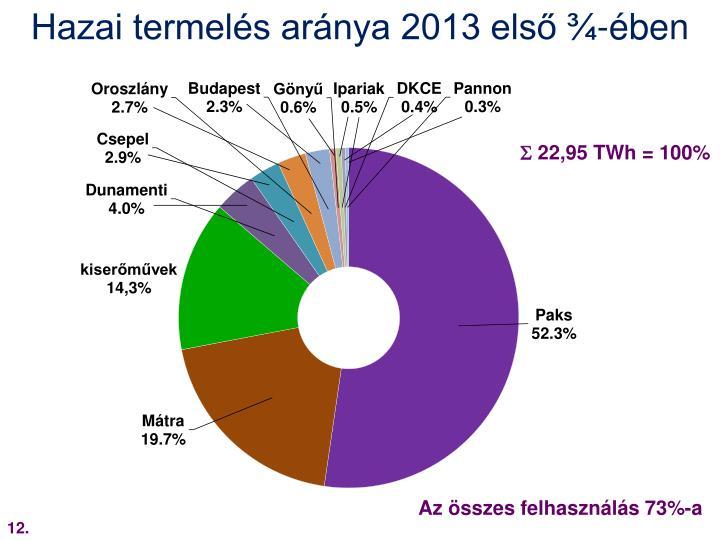 Hazai termelés aránya 2013 első ¾