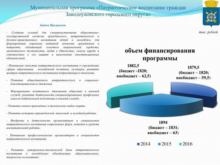 Муниципальная программа «Патриотическое воспитание граждан Заводоуковского городского округа»