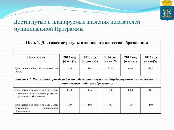 Достигнутые и планируемые значения показателей муниципальной Программы
