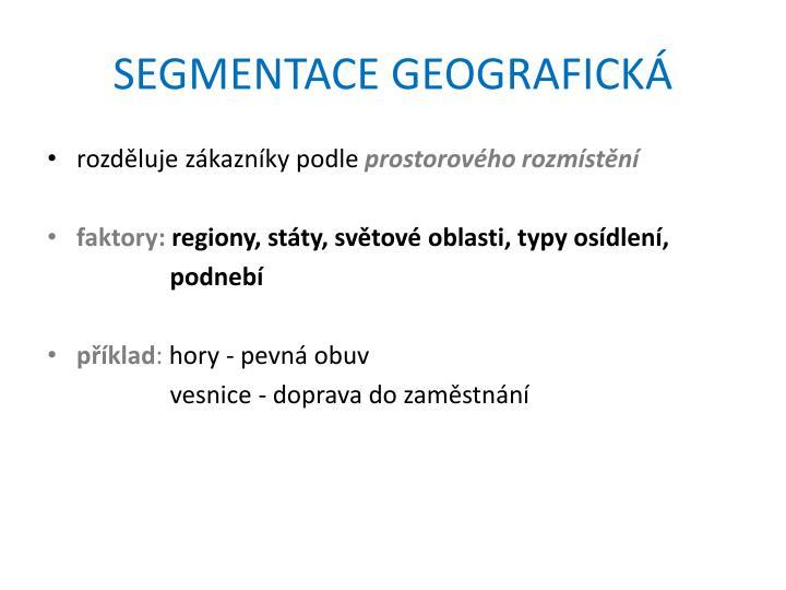 SEGMENTACE GEOGRAFICKÁ