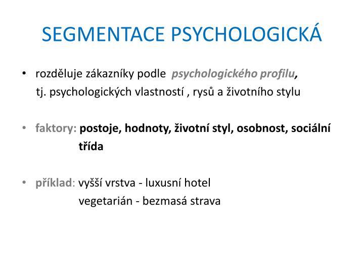 SEGMENTACE PSYCHOLOGICKÁ
