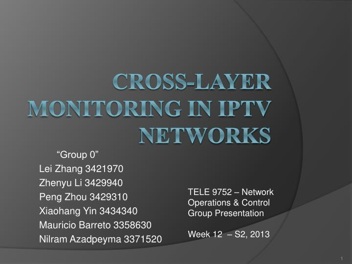 Cross layer monitoring in iptv network s