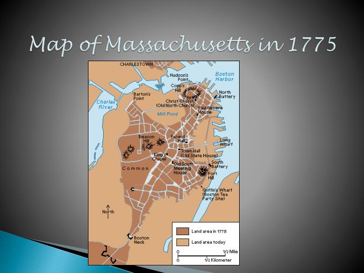 Map of Massachusetts in 1775