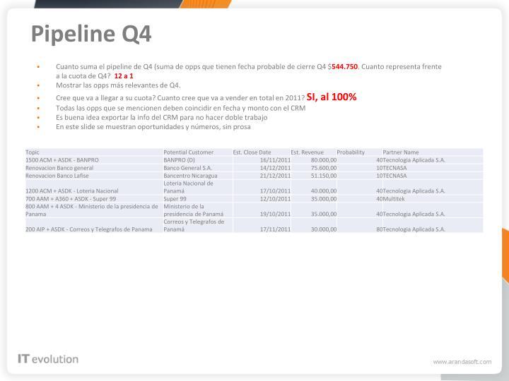 Pipeline Q4