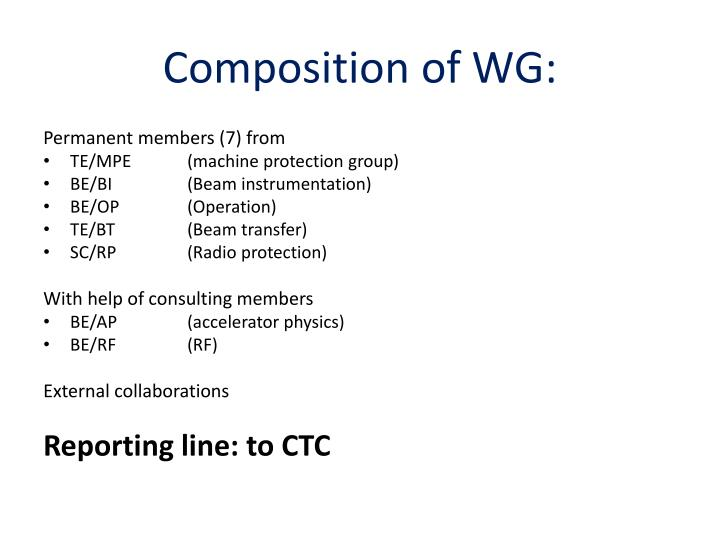Composition of WG: