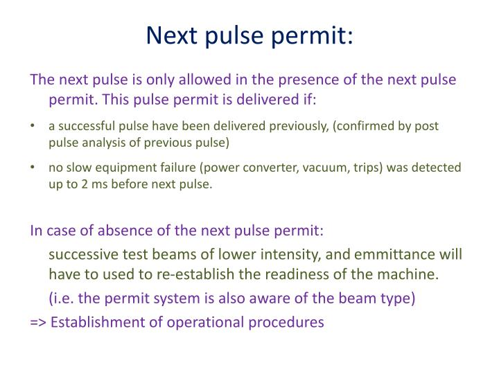 Next pulse permit: