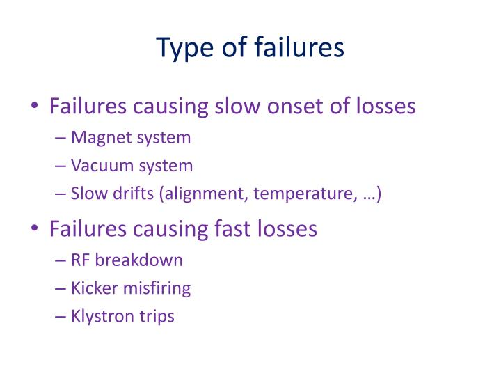 Type of failures