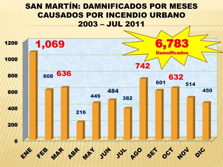 SAN MARTÍN: DAMNIFICADOS POR MESES CAUSADOS POR