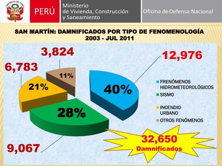 SAN MARTÍN: DAMNIFICADOS POR TIPO DE FENOMENOLOGÍA