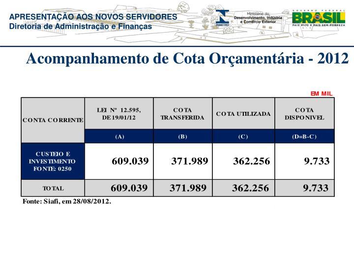 Acompanhamento de Cota Orçamentária - 2012