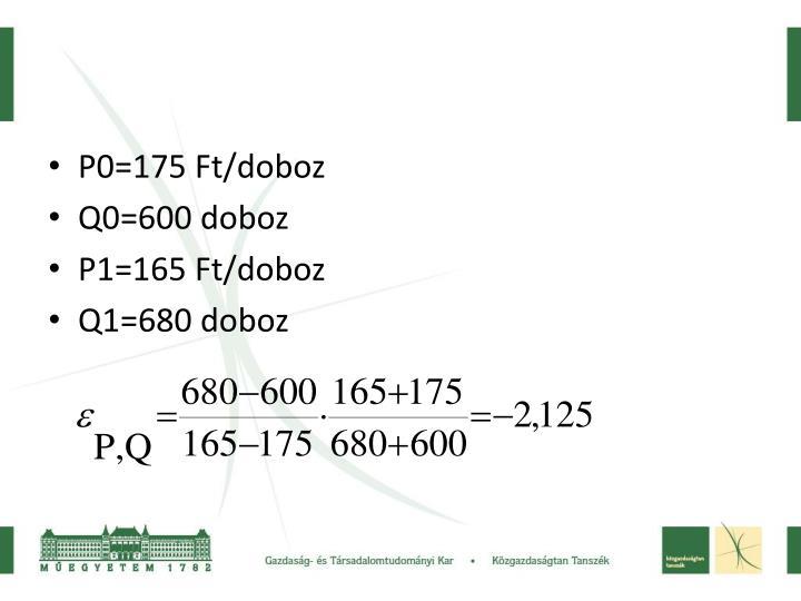 P0=175 Ft/doboz
