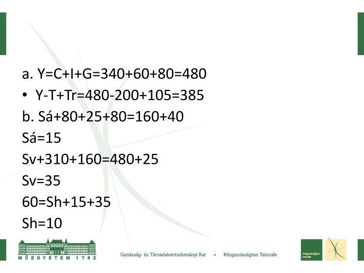 a. Y=C+I+G=340+60+80=480