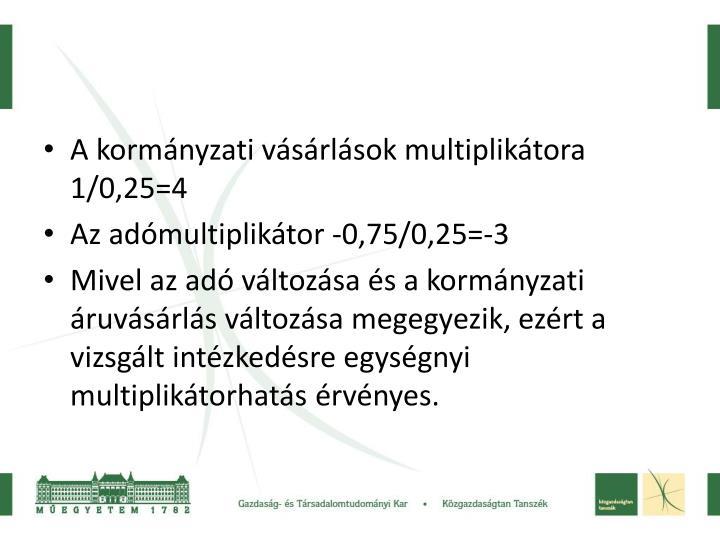 A kormányzati vásárlások multiplikátora 1/0,25=4
