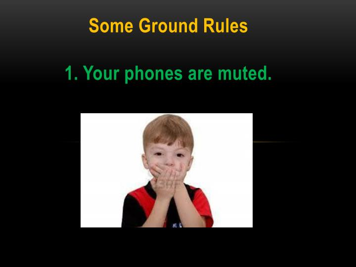 Some ground rules 1 your phones are muted