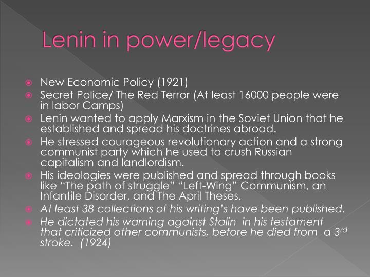 Lenin in power/legacy