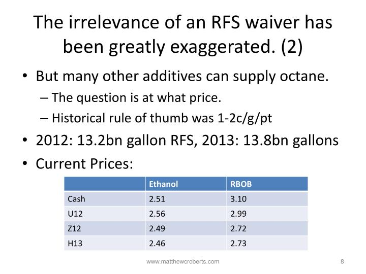 The irrelevance of an RFS waiver has been greatly exaggerated. (2)