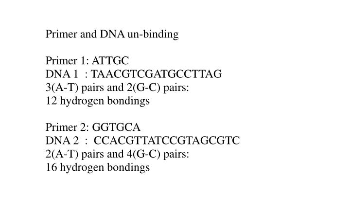 Primer and DNA un-binding