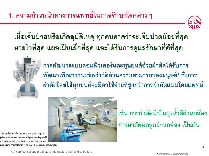 1. ความก้าวหน้าทางการแพทย์ในการรักษาโรคต่างๆ