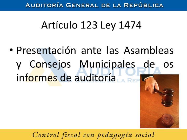 Artículo 123 Ley 1474