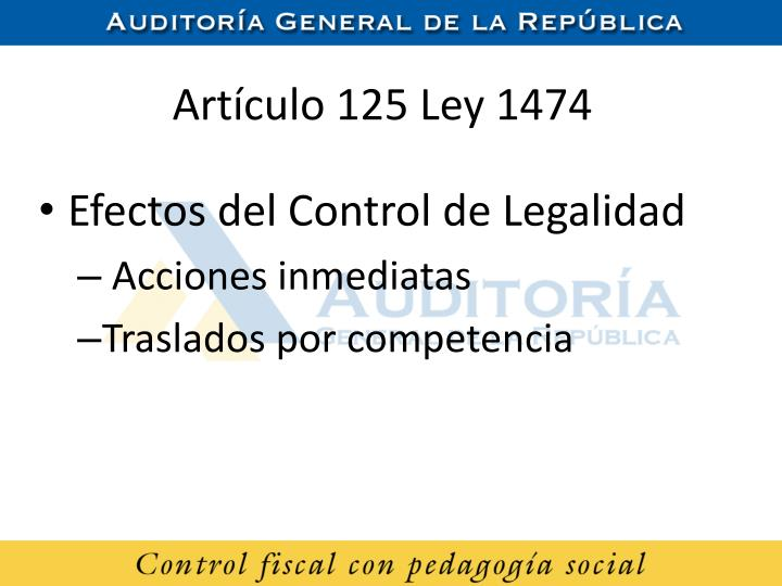 Artículo 125 Ley 1474