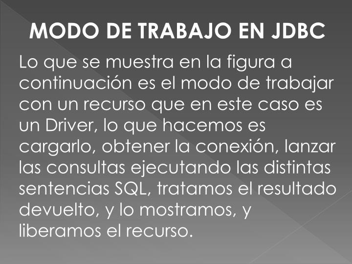 MODO DE TRABAJOEN JDBC