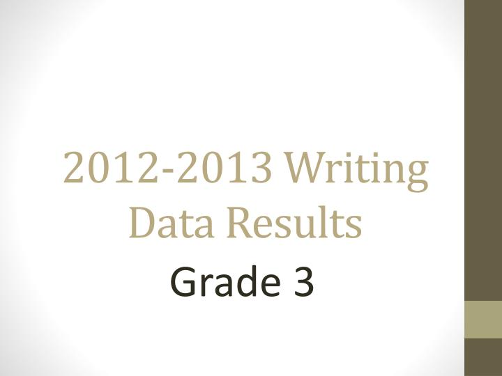 2012-2013 Writing  Data Results