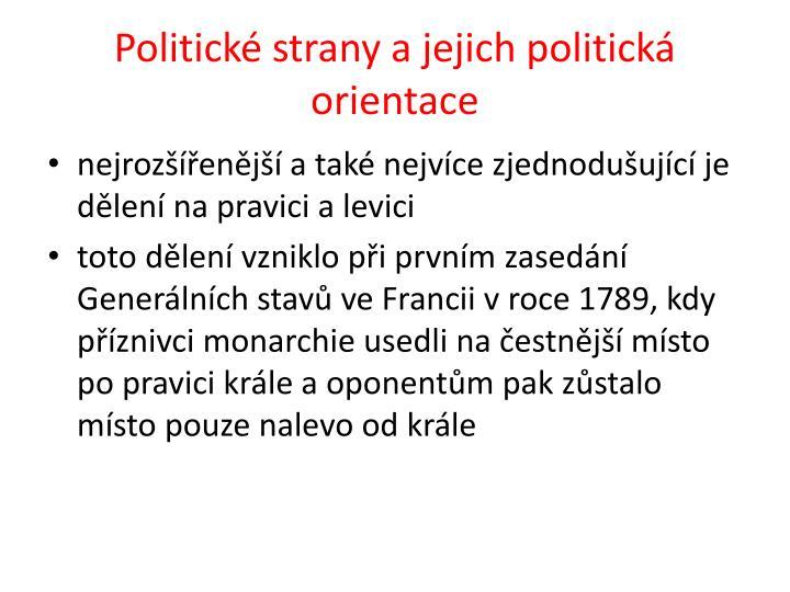 Politické strany a jejich politická orientace