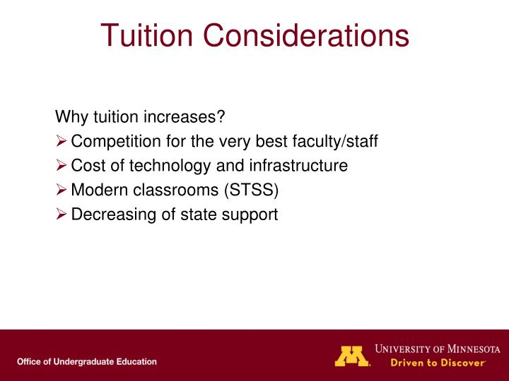 Tuition Considerations