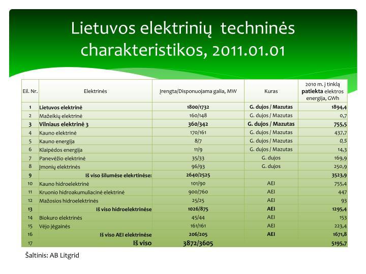 Lietuvos elektrinių  techninės charakteristikos, 2011.01.01