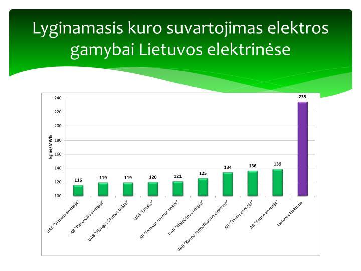 Lyginamasis kuro suvartojimas elektros gamybai Lietuvos elektrinėse