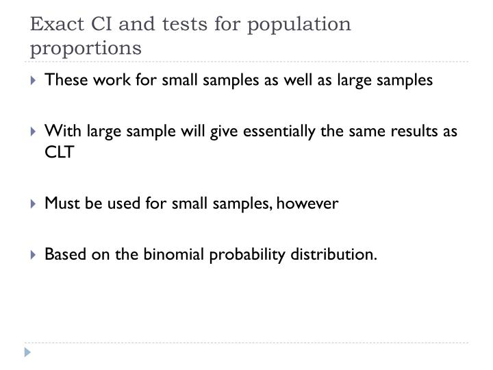 Exact CI and tests for population proportions