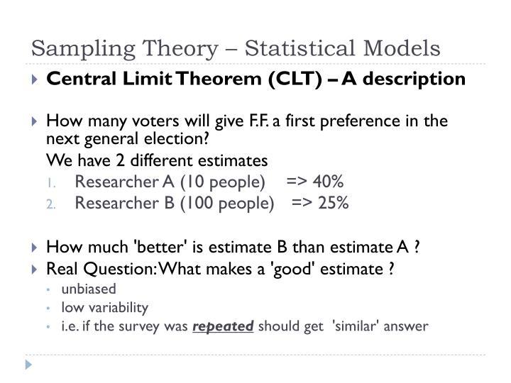 Sampling Theory – Statistical Models