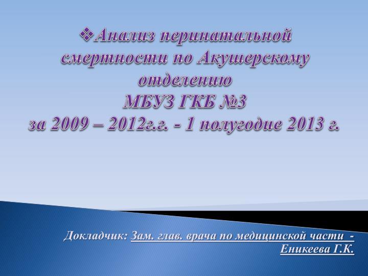 Анализ перинатальной смертности по Акушерскому отделению