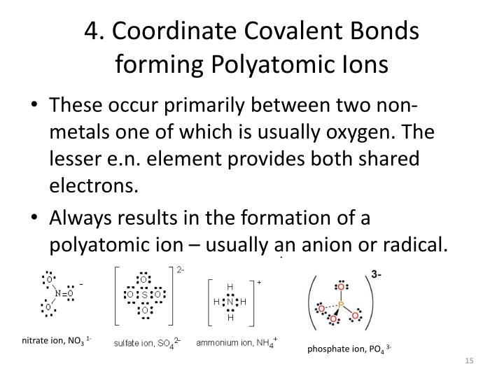 4. Coordinate Covalent Bonds