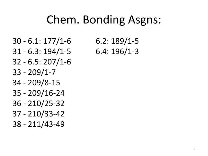 Chem. Bonding Asgns: