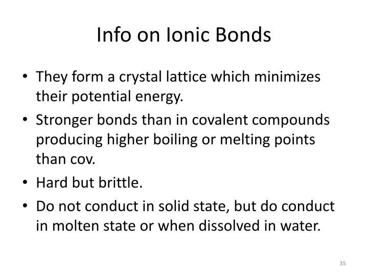 Info on Ionic Bonds