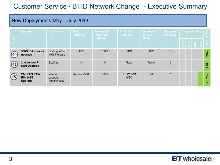 Customer Service / BTID Network Change  - Executive Summary