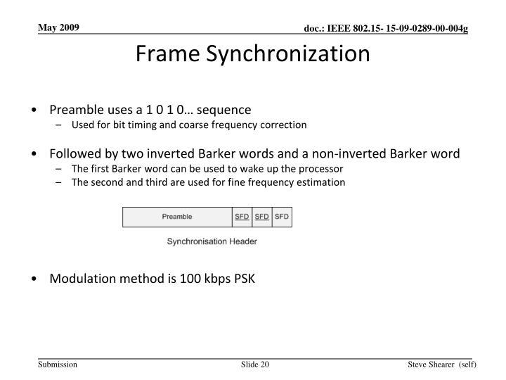 Frame Synchronization