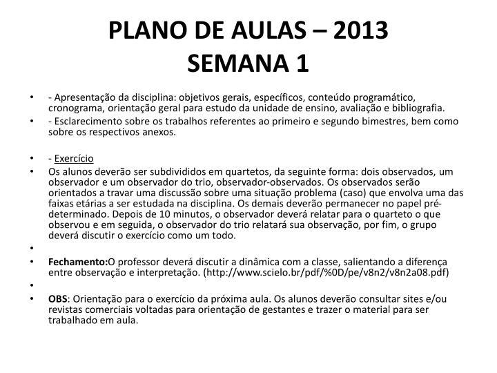 PLANO DE AULAS – 2013