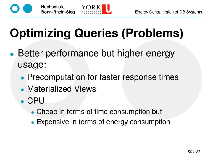 Optimizing Queries (Problems)