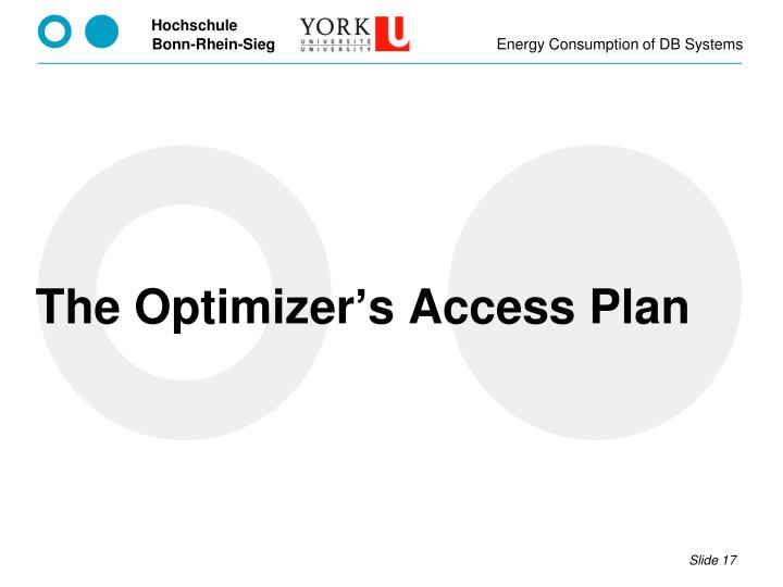 The Optimizer's Access Plan