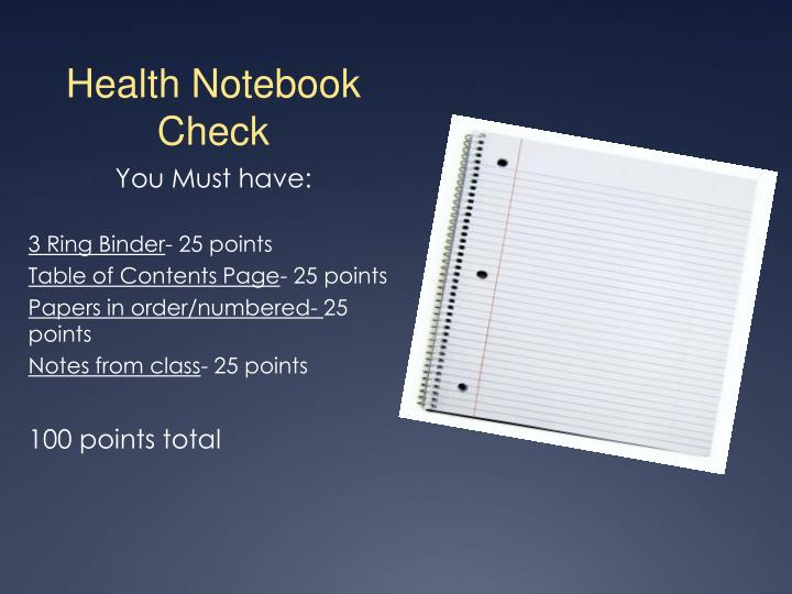 Health Notebook Check