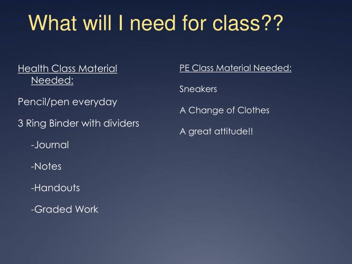 What will I need for class??