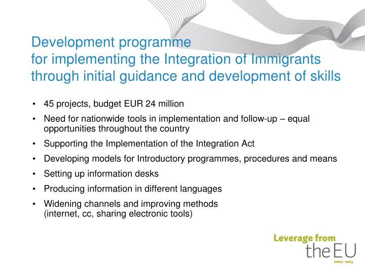 Development programme